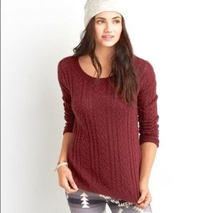 American Eagle cableknit zip pullover sweater